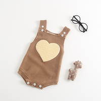 Wholesale Cute Love Heart Printed Baby Knit Climb Clothes New Model Baby Girls Knit Romper