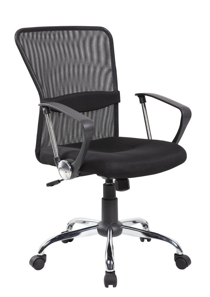 Ayvek Chairs One Touch Pneumatic Adjustable Mesh Mid-Back Swivel Home & Office Computer Chair, Black