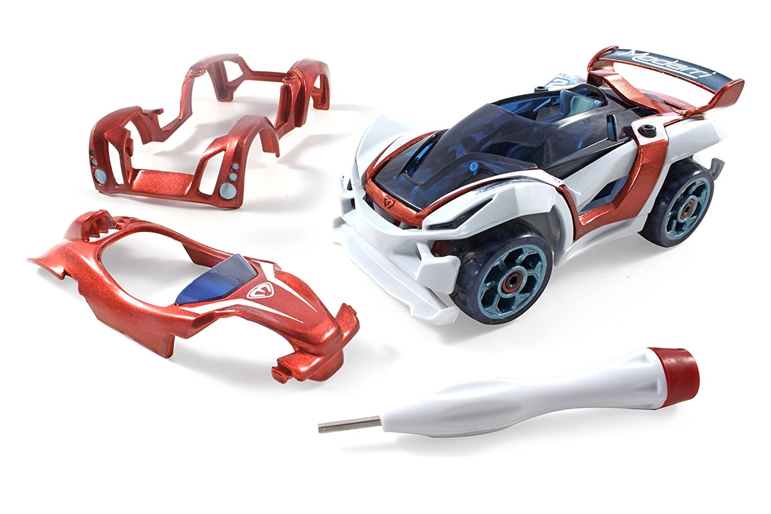 Modarri Delux T1 Track Car Ultimate Toy Car: Fully Customizable Mix and Match For Thousands of Designs Real Steering and Suspension Educational Construction Toy For Kids