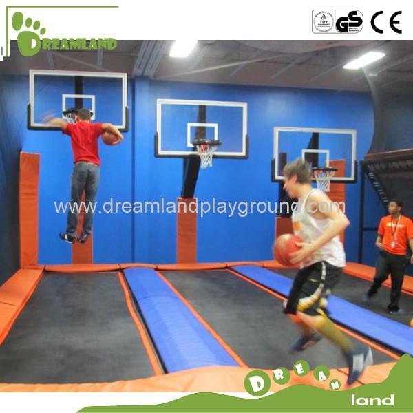 large sized popular trampoline with basketball hoop equipment