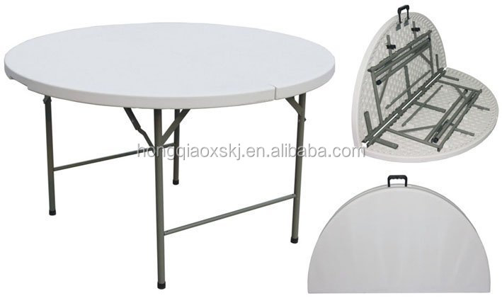 4ft, 5ft, 6ft Plastic Fold In Half Round Dinning Table, Banquet Round  Folding