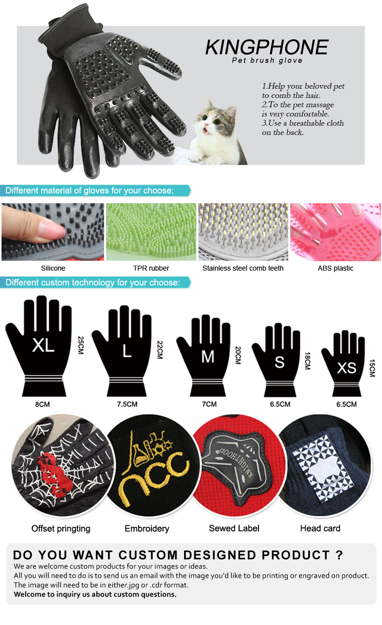 Dog Puppy Pet Bath Glove Brush Massage Comb Gloves
