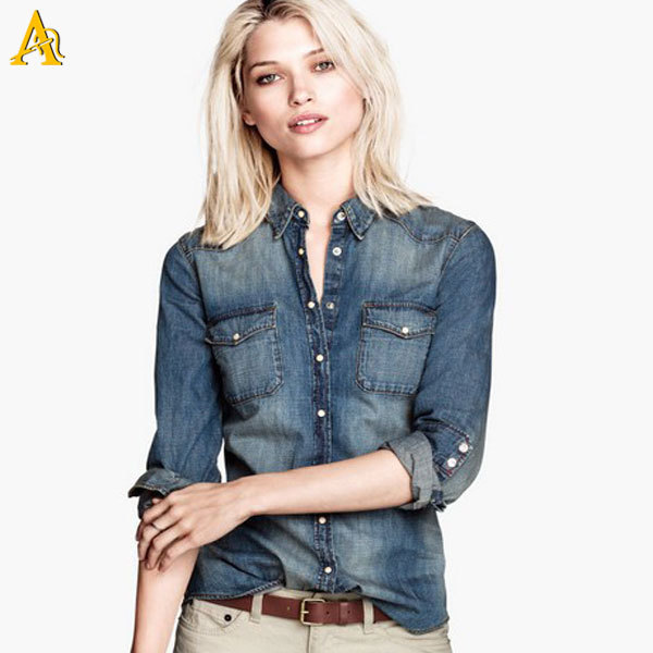 Lady Denim Shirt - Buy Lady Denim Shirt In Oem Of Jean Jacket ...