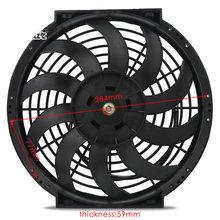 """9 """"10"""" 12 """"дюймов Универсальный тонкий вентилятор радиатора Pull Push Racing Car S-Blades Электрический двигатель Впускной Вентилятор охлаждения 12 в 80 Вт(Китай)"""