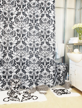 Luxury Damask Black Bathroom Set Shower Curtain With Bath Rug Sets