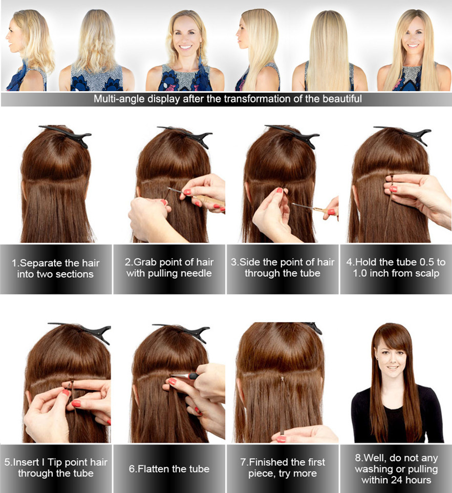 I Tip  Hair Extensions #613 Blonde Color 100% virgin cuticle aligned  human hair Pre-Bonded Stick I Tip Hair Extensions