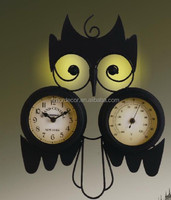 metal wall clock promotional 2 in 1 metal outdoor wall clock with temperature waterproof archaistic/antique wall clock