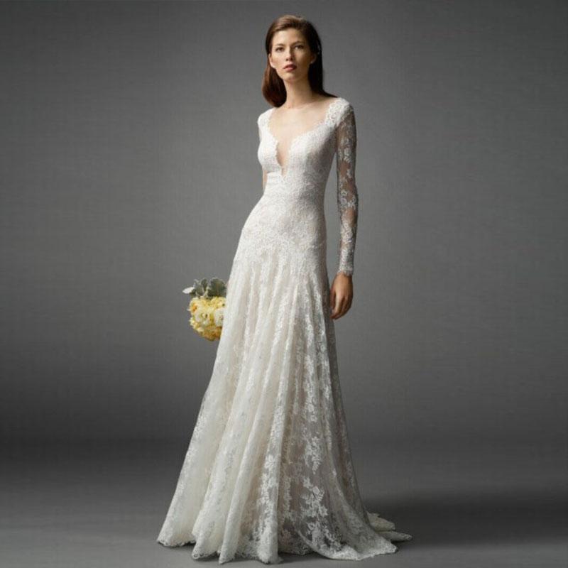 Elegant Long Sleeve Wedding Dresses Muslim Dress 2015: White Lace Wedding Dresses Long Sleeve Muslim Wedding