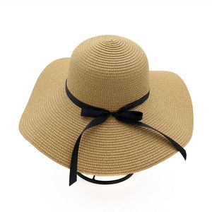 5dafb7d16 Women's Big Brim Sun Hat Floppy Foldable Bowknot Straw Hat Summer Beach Hat