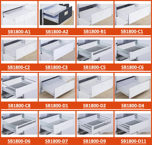 Top quality!! Factory made push open double wall drawer slider