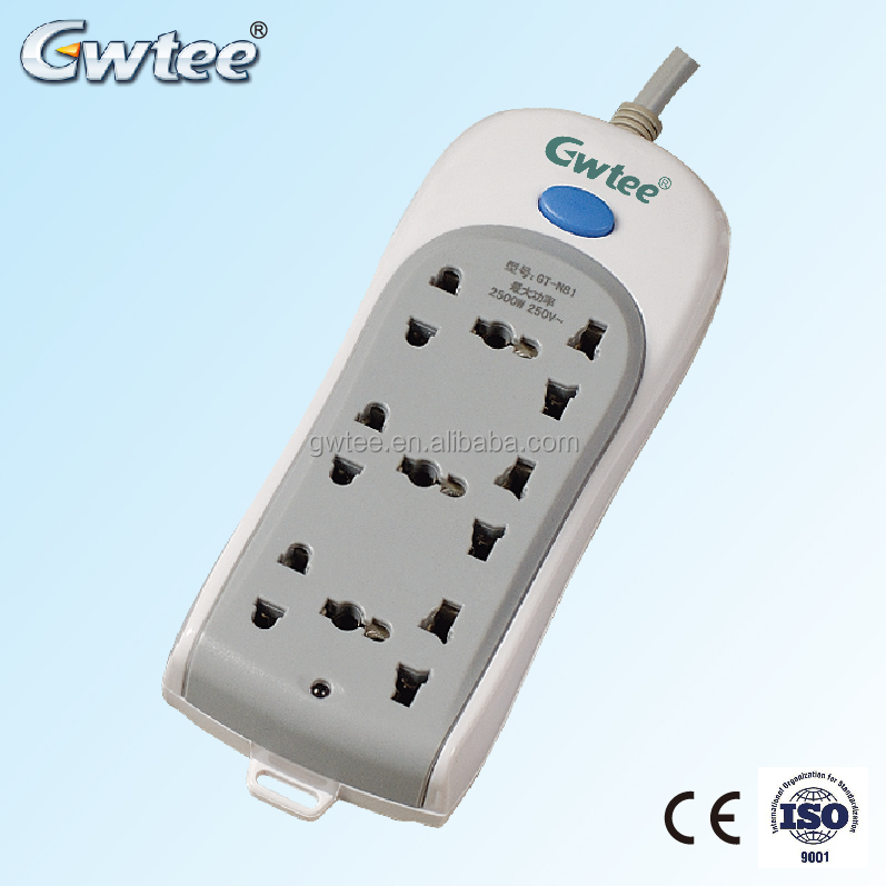Good Price Custom 220-250V 10A 2500W GT-N81 micro usb wall charger extension socket