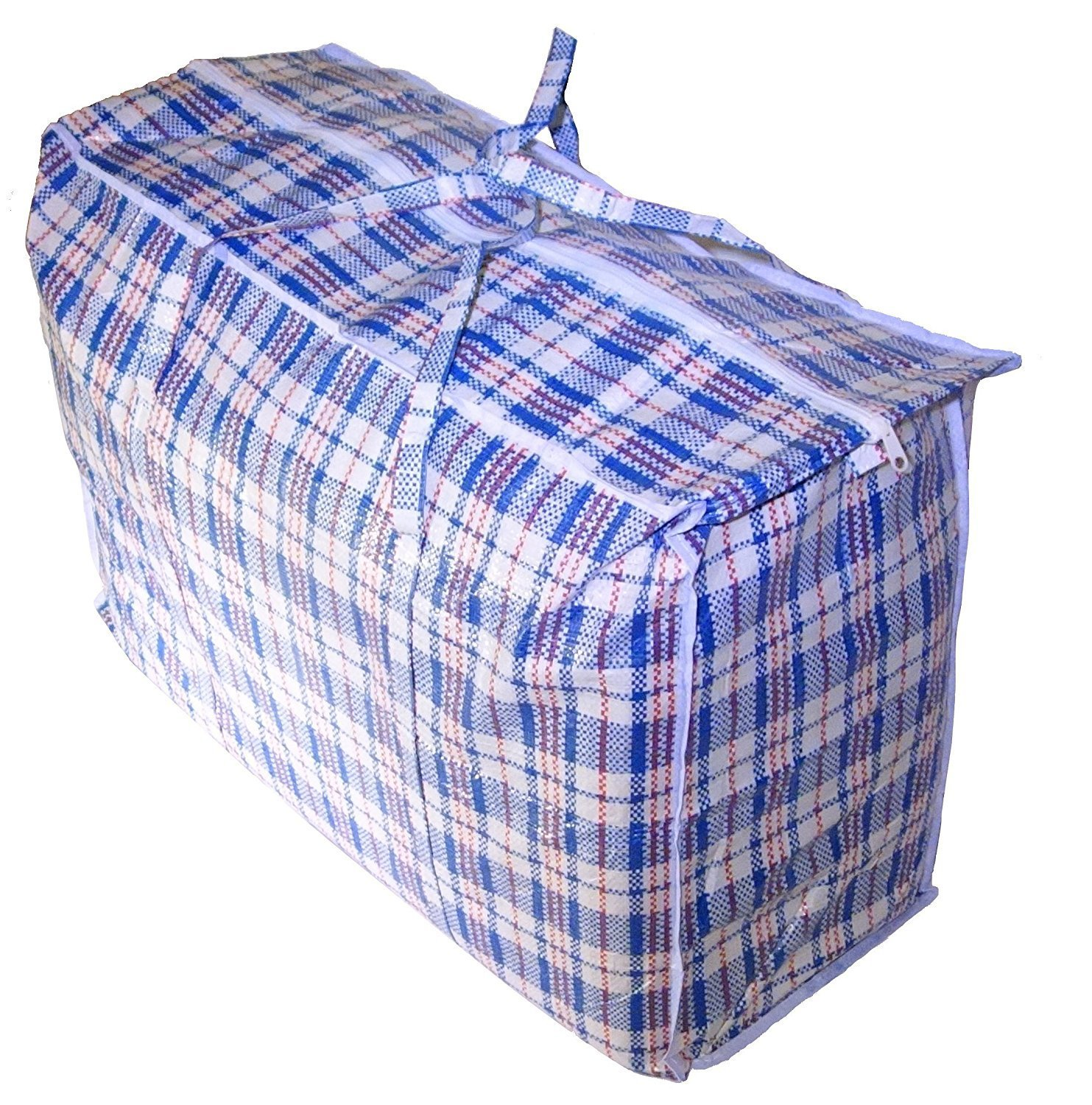 """Set of 3 SUPER GIANT JUMBO Laundry/Storage/Transport/DormRoom Checker Shopping Bags with Zipper & Handles, Size=27""""H x 31""""L x 7""""W Colors Vary between Blue/Red/Black/White Check Design"""