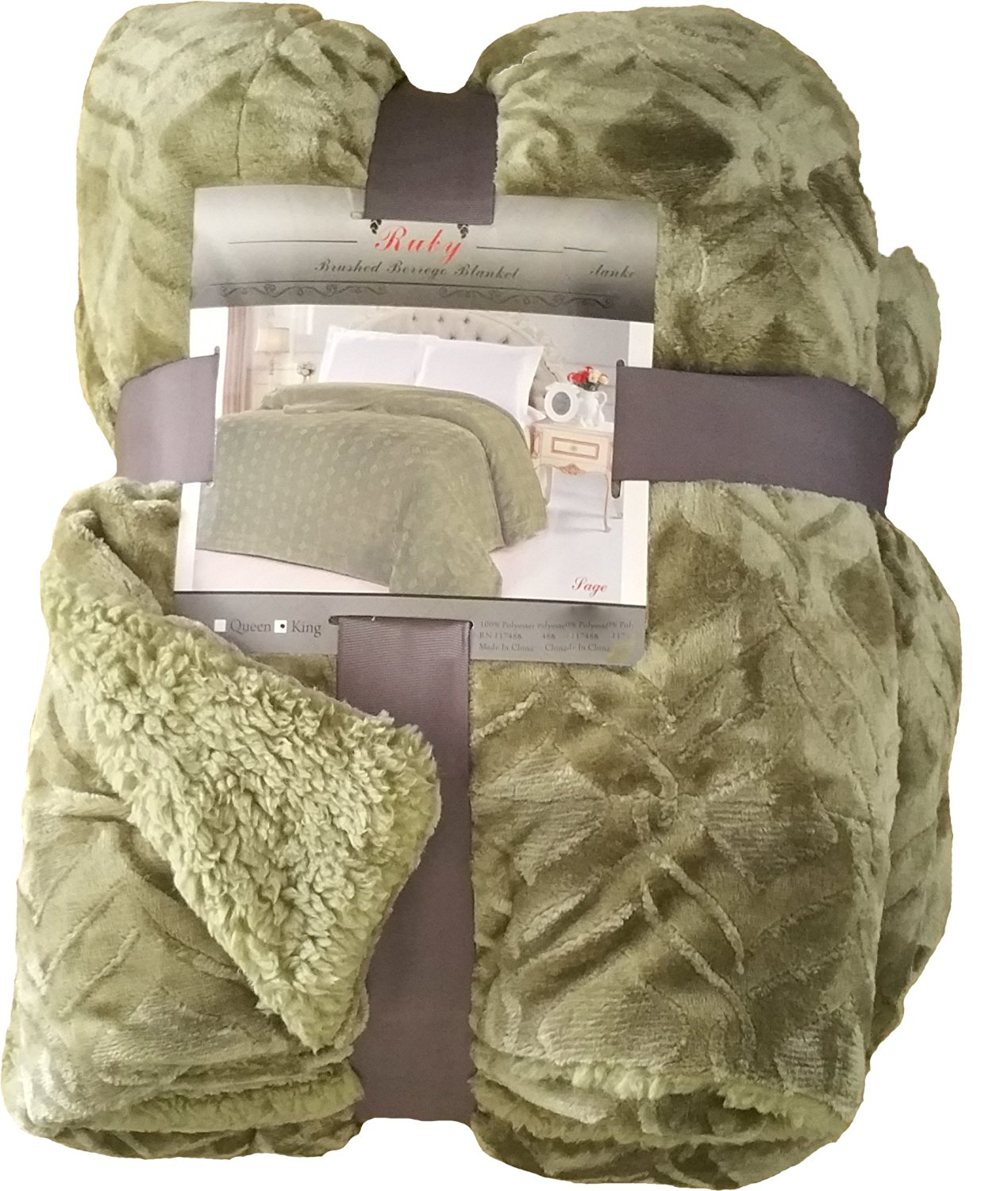 Fancy Collection Queen/king Size Embossed Blanket Sumptuously Soft Plush Sollid Sage Green with Sherpa Revirsable Winter Blankets Bedspread Super Soft New (Queen/king)