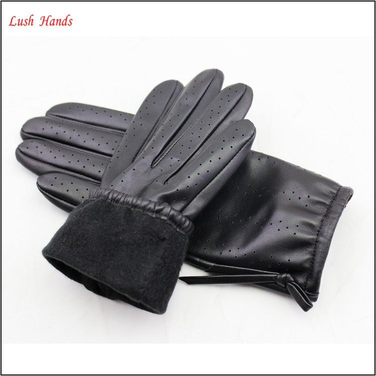 Fashion short driving black women leather dress gloves