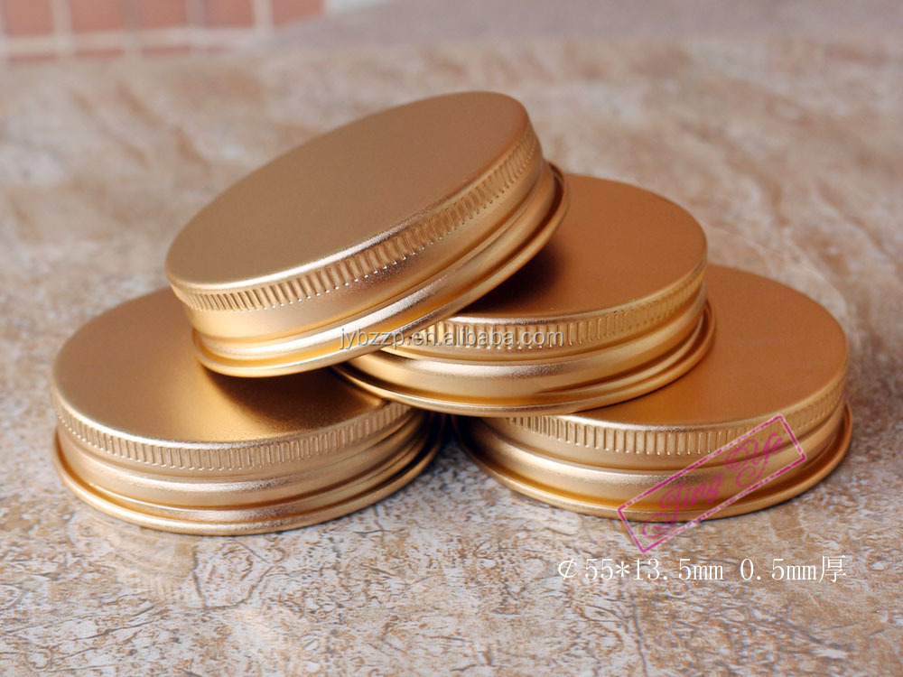 55mm frosted gold lid aluminum caps for Korean cosmetic