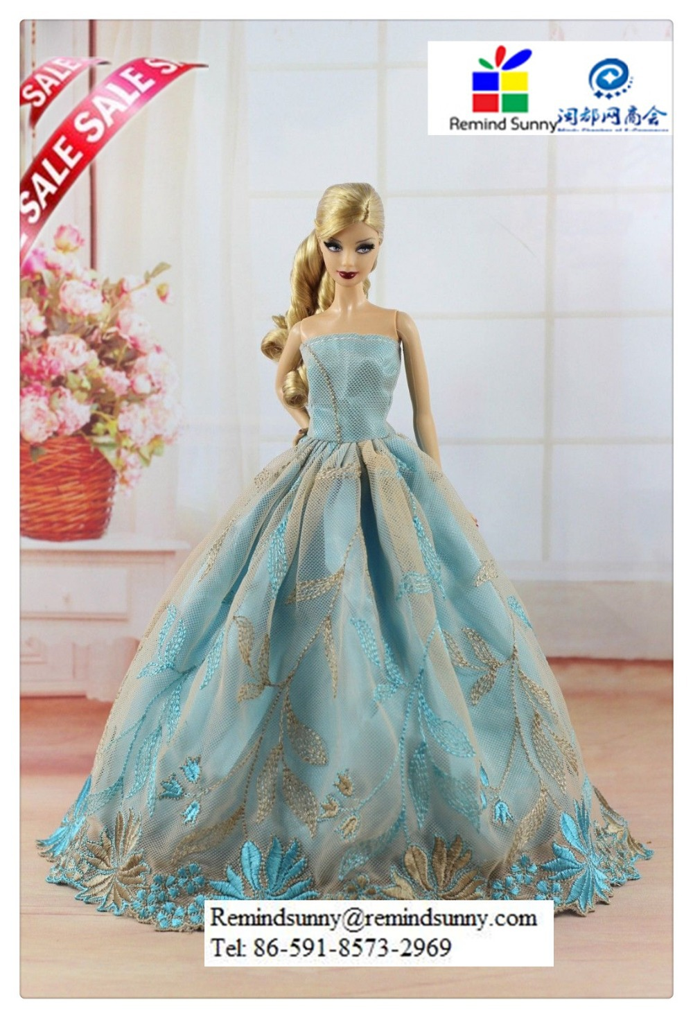 Lace Princess Party Wedding Dress Clothes/gown For Barbie Doll - Buy ...