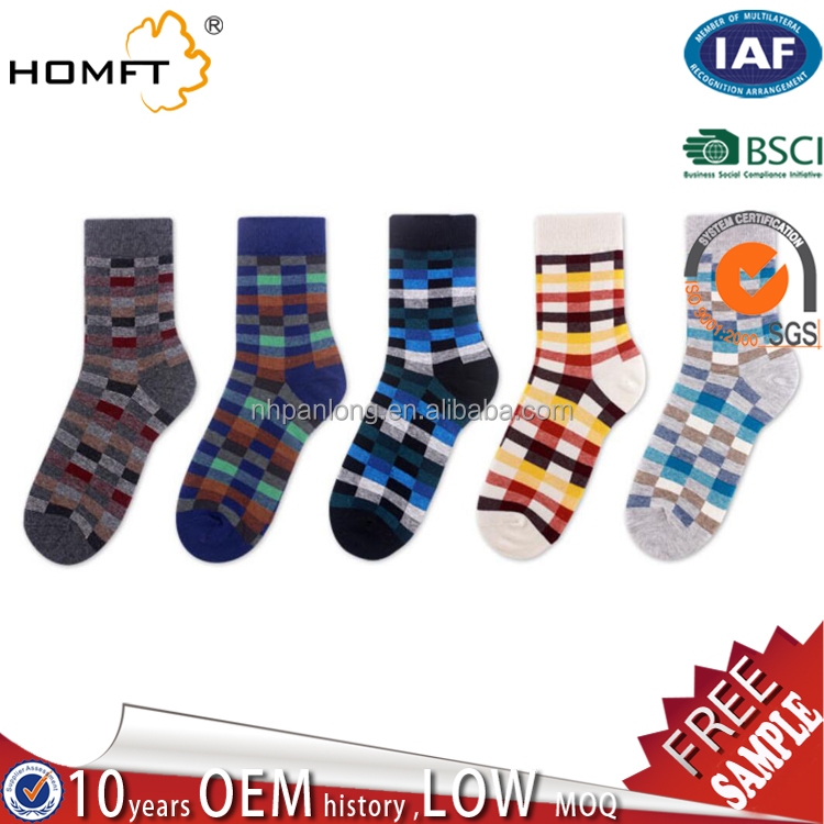British Style Plaid happy Socks Gradient Color High Quality Men's Cotton argyle Socks