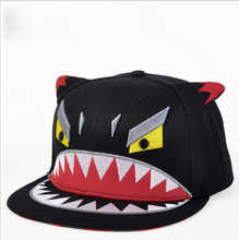 Funny children black acrylic embroidered shark cartoon snapback cap hat with ears