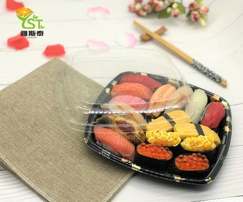 Best selling printed boat tray custom sushi box with lid