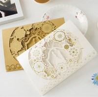 Latest designs laser cut invitation card pearl paper wedding cards