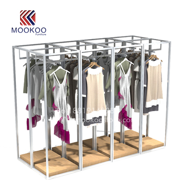 Factory direct sale silver metal hanging clothes display racks