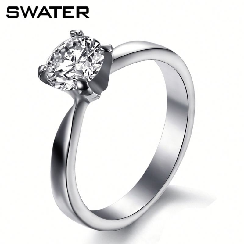 Manufacturer 316 L Stainless Steel Jewelry 925 Silver Ring With Clear Zircon Made In China