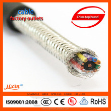 Copper braid screened double shielded multi-core flexible cable