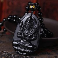 High Quality Natural Black Obsidian Carved Buddha Lucky Amulet Pendant Necklace For Women Men pendants Jadee Jewelry