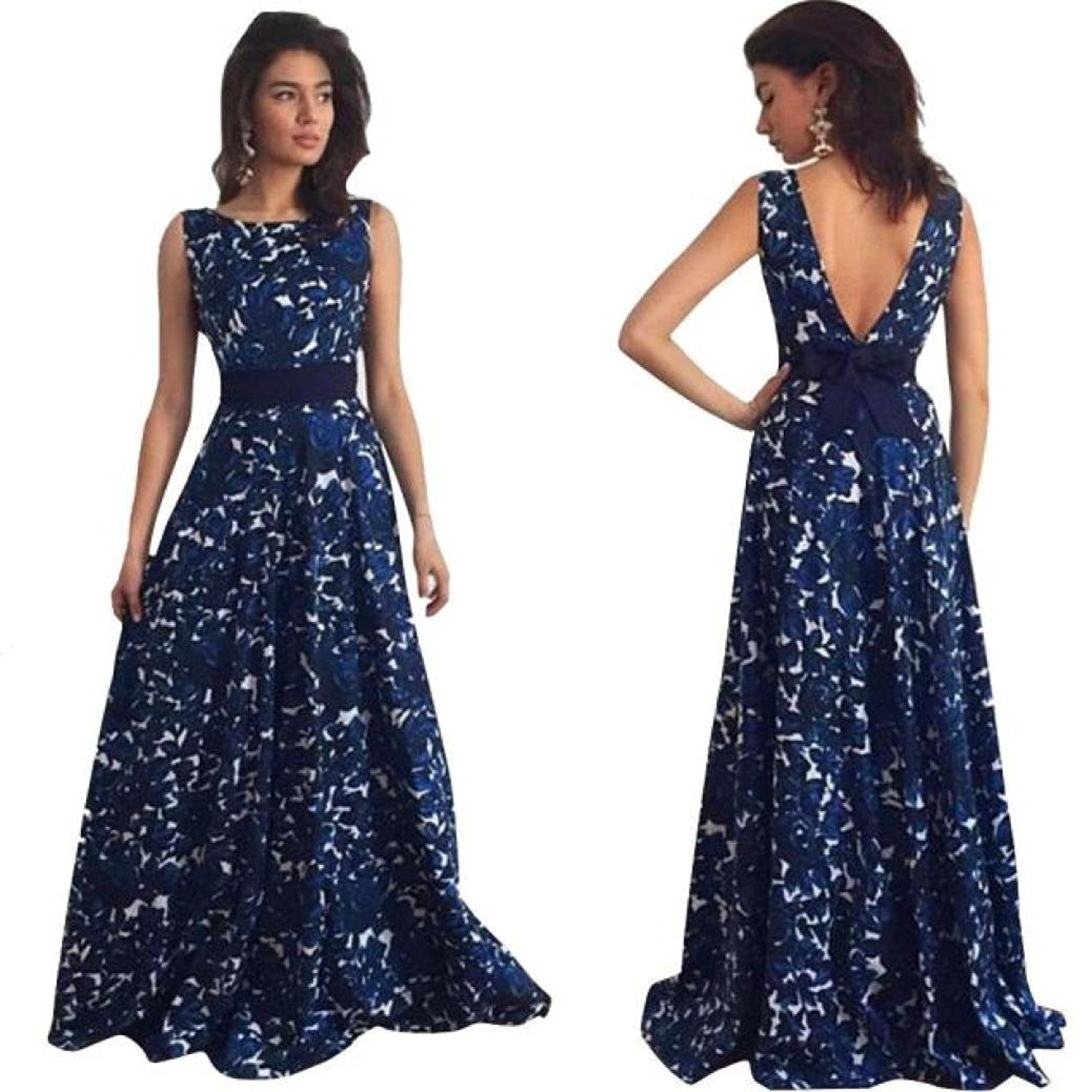 994b068c4a Get Quotations · Maxi Dress,Sexy Women Floral V Back Long Formal Prom Dress  Party Ball Gown Evening