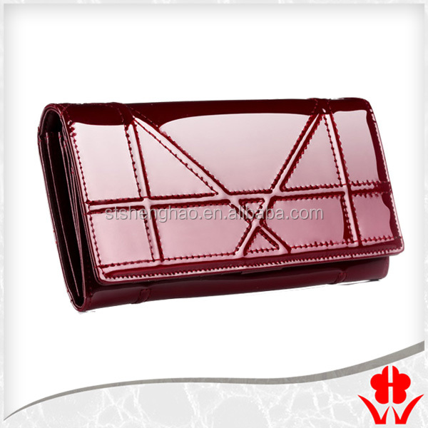 Women's Genuine Leather Credit Card Money Photo ID Slim botton long Clutch <strong>Wallet</strong>