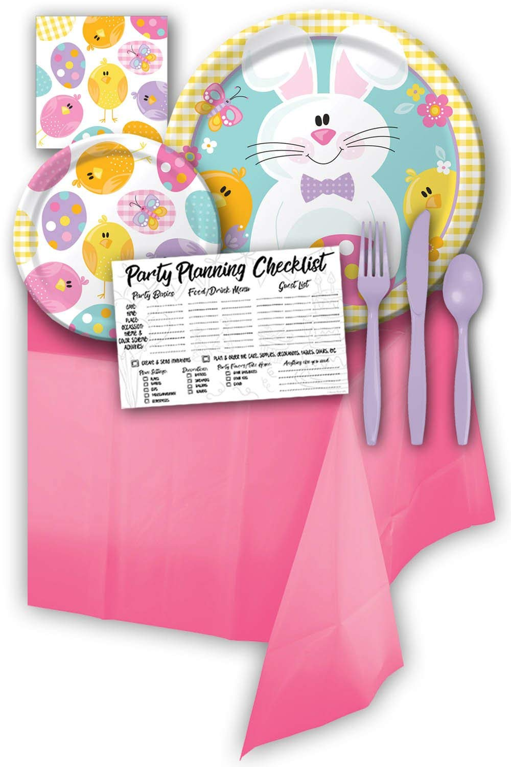 Easter Bunny Picnic Themed Party Supply Pack Bundle - Serves 8 Guests