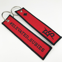 custom cheap double sides logo embroidered woven keychain high quality personalised keyrings