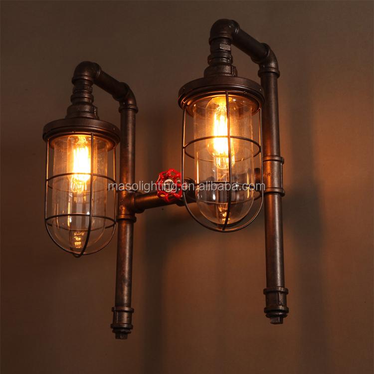 Loft Lampe Murale Vintage Industriel Rétro Double Têtes Tuyau D\'eau  Applique Murale Pour Chambre Décor Fer Cage Applique Murale Applique - Buy  ...