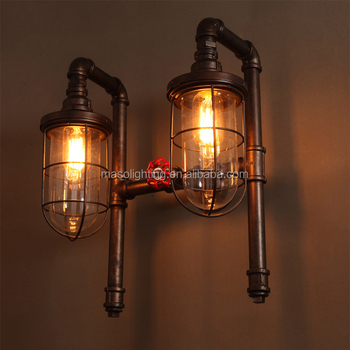 Loft Vintage Wall Lamp Retro Industrial Double Heads Water Pipe Wall ...