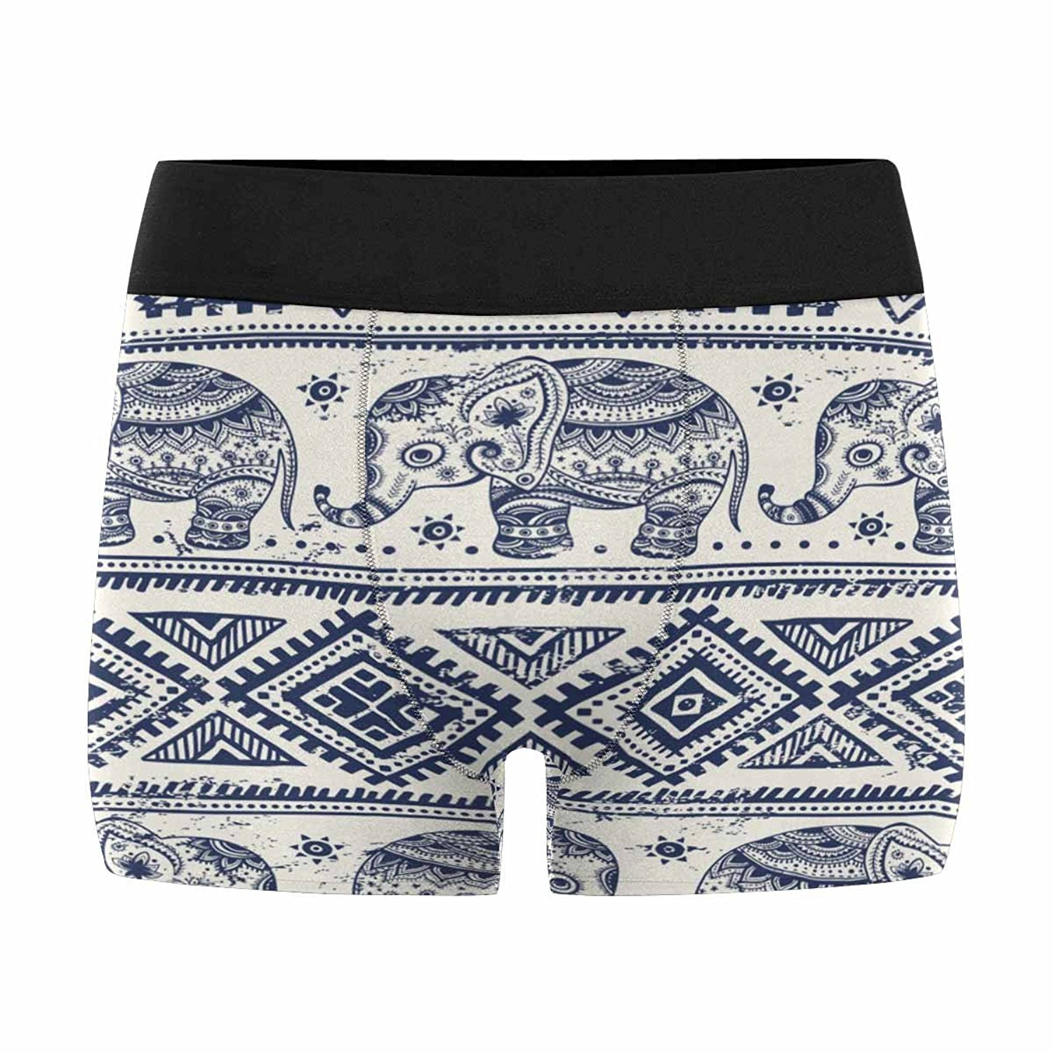 INTERESTPRINT Mens All-Over Print Boxer Briefs Floral with Elephants XS-3XL