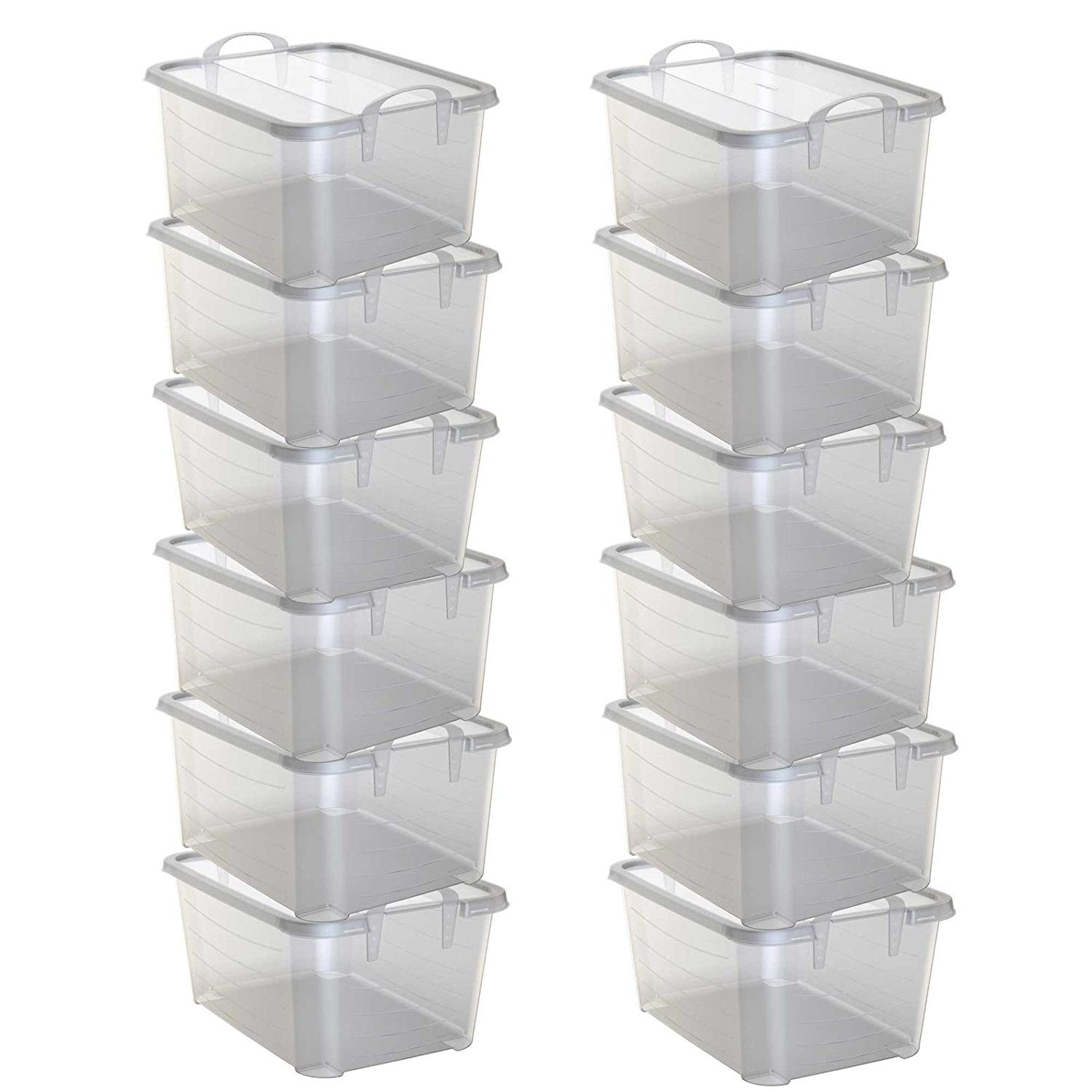 Storage Containers Bins Cubes Clear Plastic Stackable Closet Box 55 Quart  Boxes 12 Pack   Skroutz