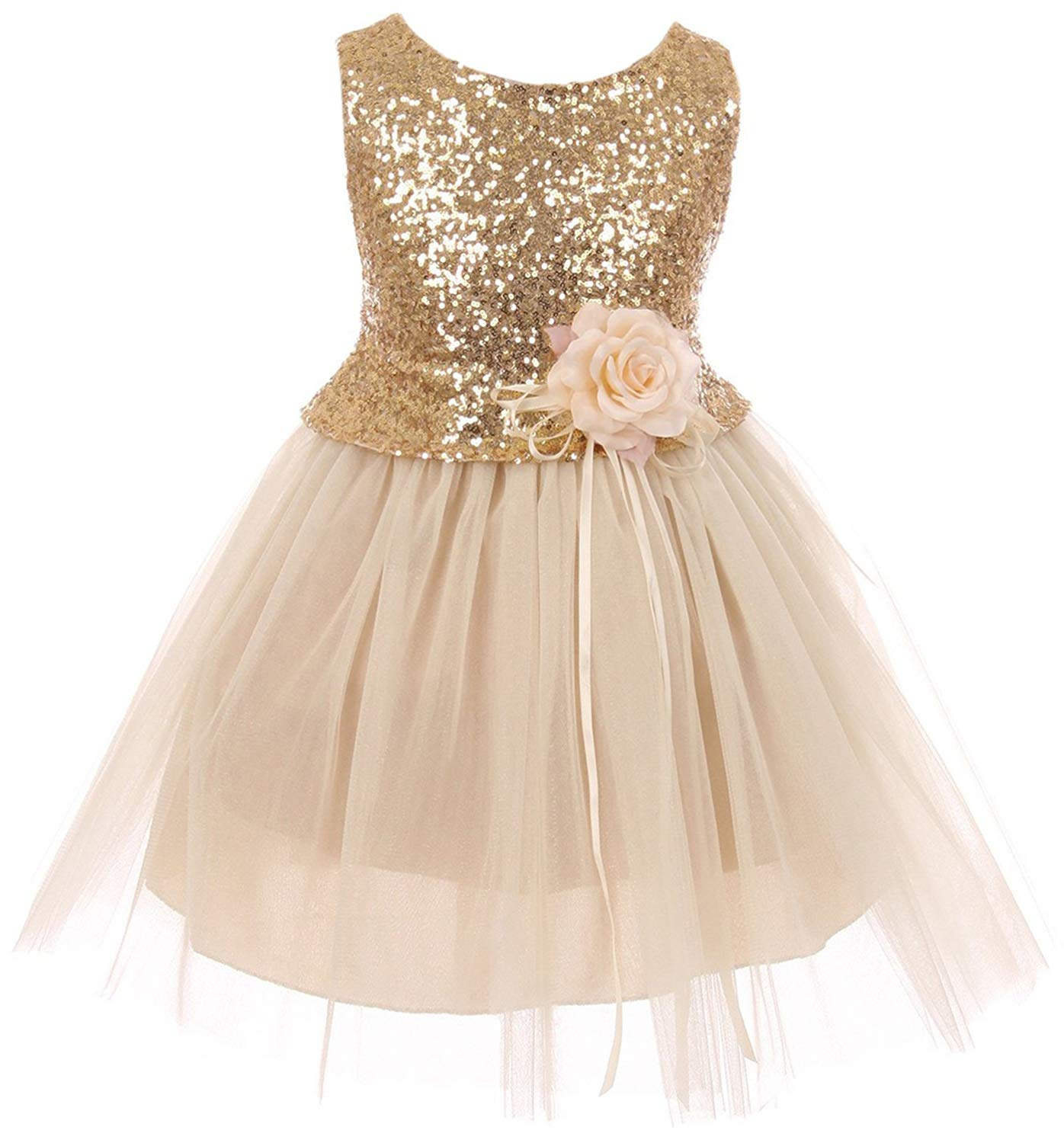 Dreamer Girls Dress Sequins Glitter Floral Tulle Pageant Party Flower Girl Dress