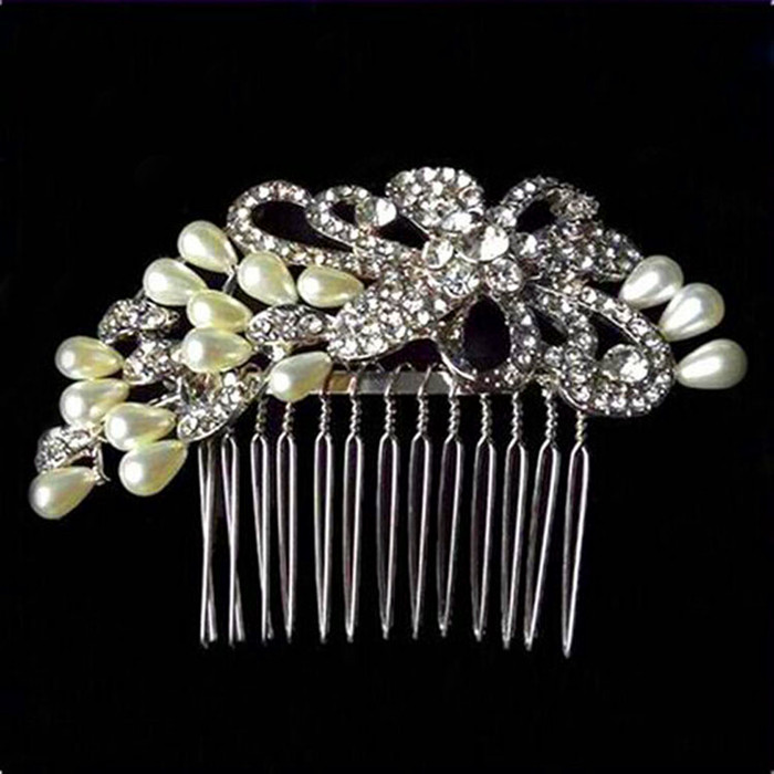 High Quality Silver Color Metal Pearls Rhinestone Hair Comb/Wedding Hair Accessories/Bridal Hair Accessories