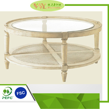 High Quality Round Pastoral Style Wooden Coffee Table Glass and Rattan Coffee Table For Sale