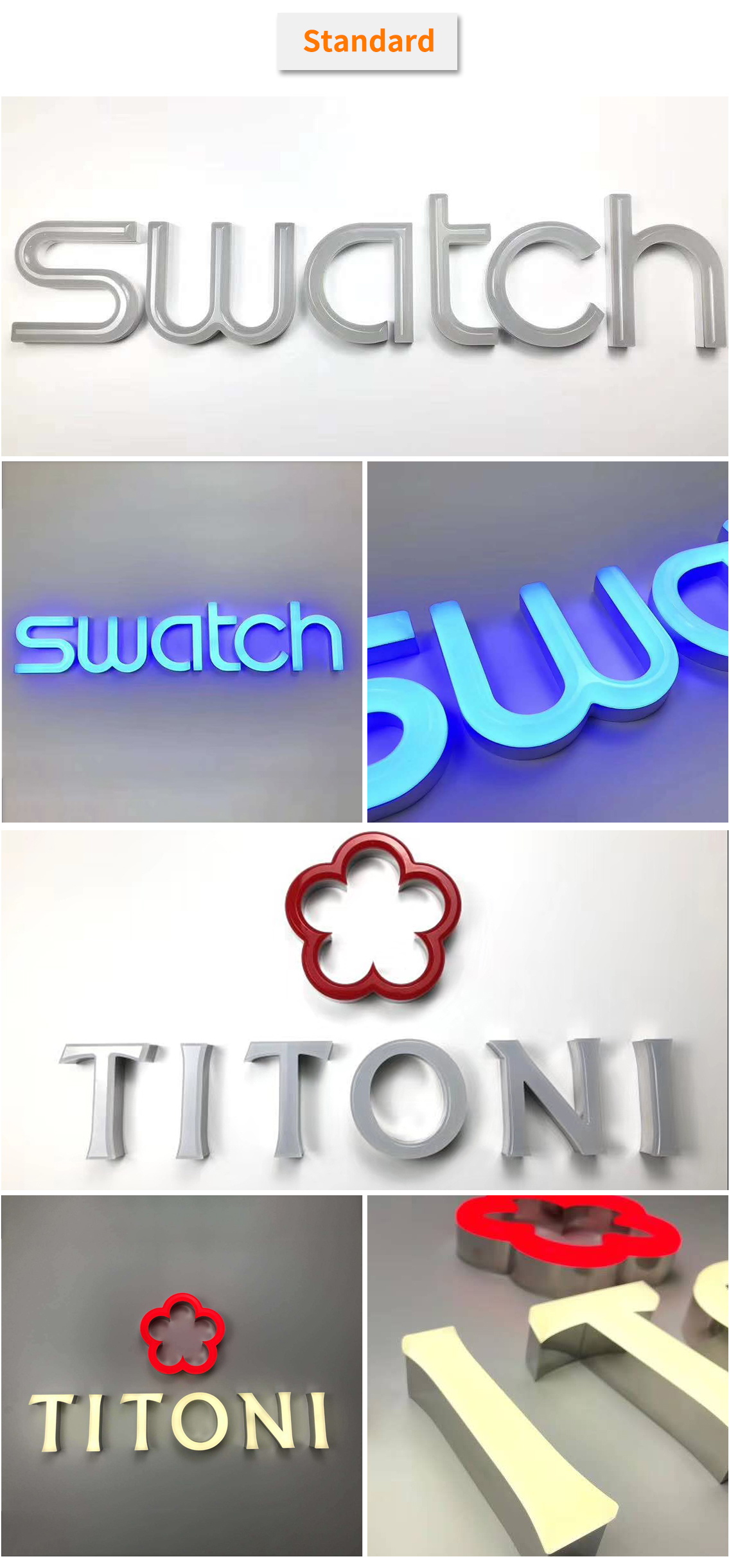 Outdoor 3d led illuminated acrylic alphabet letter sign