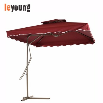 7.2u0027 X 7.2u0027 Square Offset Patio Umbrella With Strong Sturdy Double Canopy  Construction And