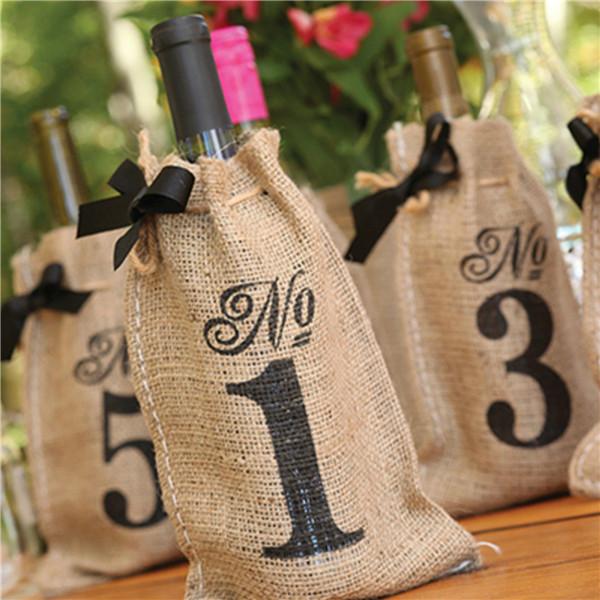 3 X Jute Hessian Rustic Gift Wine Bottle Bag