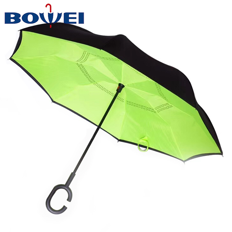 2020 China Factory Direct New Style Double Layer C Handle  Green Inverted Umbrella reverse
