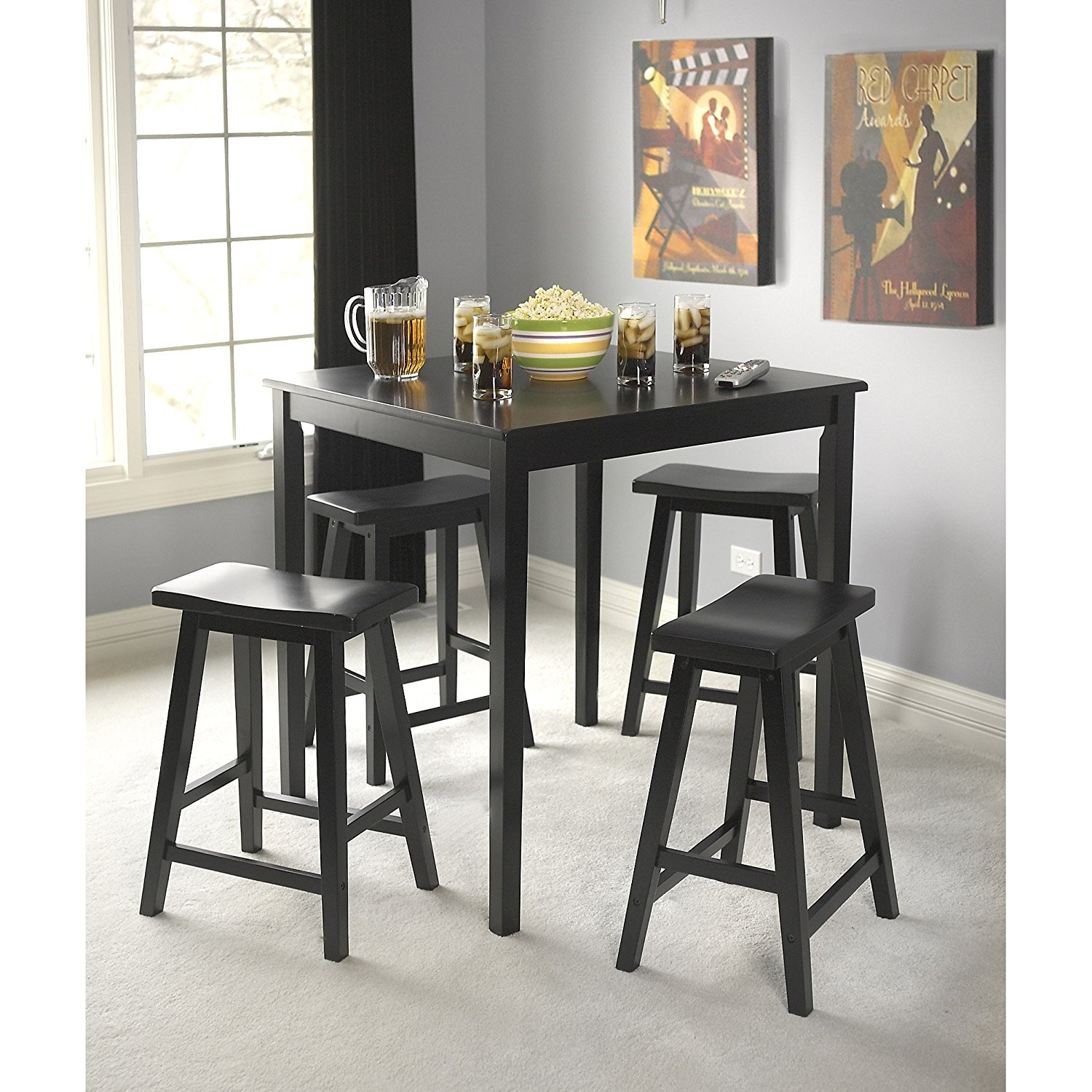 Dining Room Set - Black Modern Rubber Wood 5-Piece Dinette Set - Counter-Height Table and Four Saddle Stools - Square, Five-Piece, Kitchen, Breakfast Table, Perfect Design