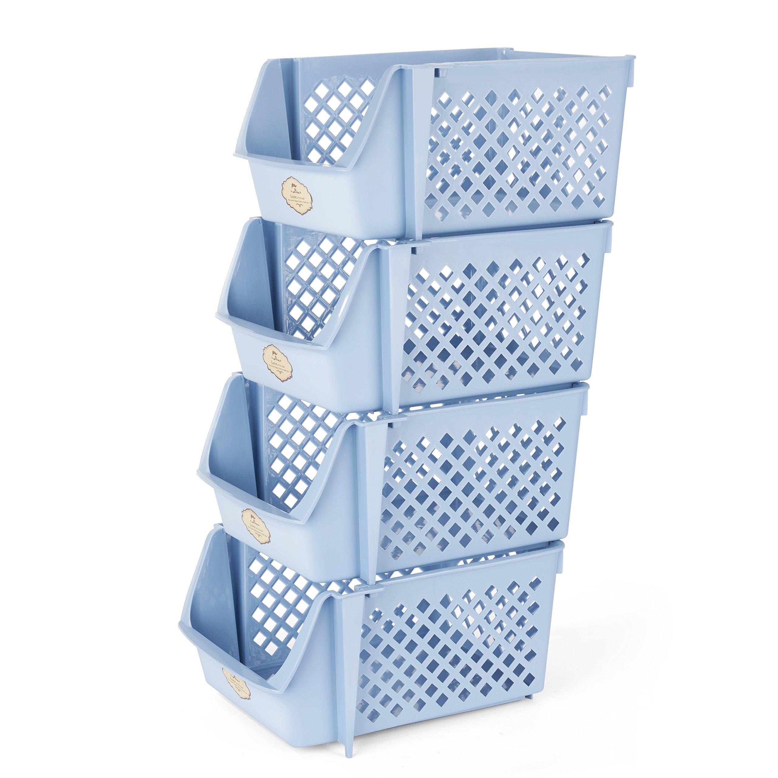 Titan Mall Supplies Storage Bins Stackable Storage Bins for, Files, Beers, Snacks 15 X 10 X 7 Inch/bin, Set of 4, Blue