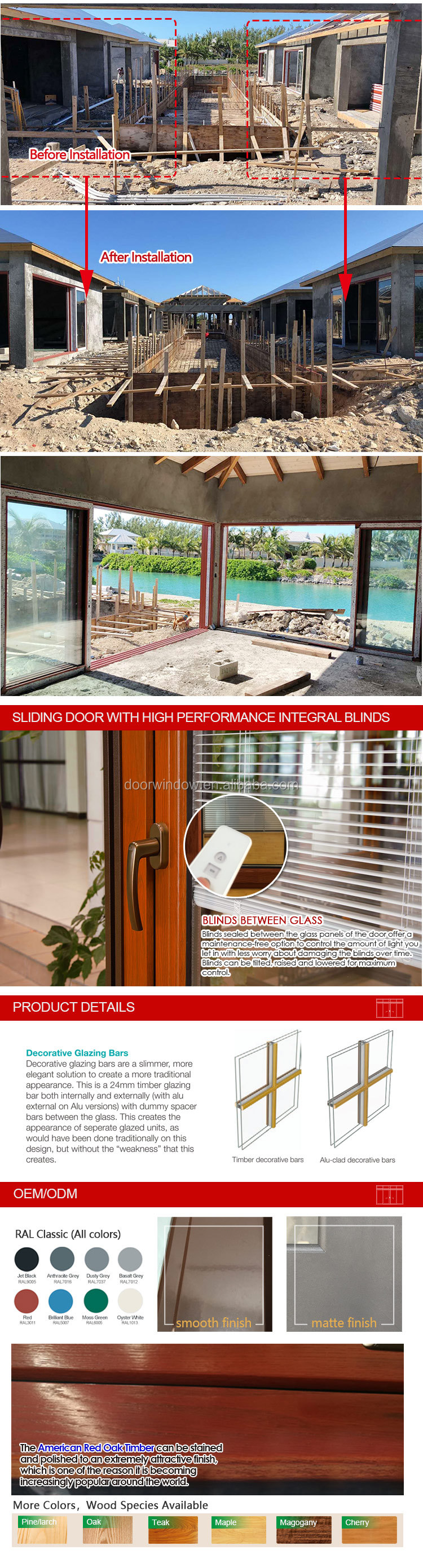 Timber and aluminum clad Double glazed sliding windows and doors solid wood slider door