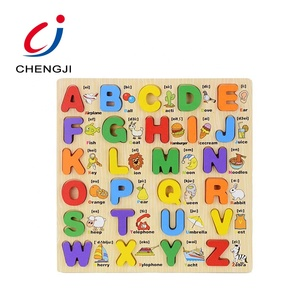 Hot sale educational children learning alphabet kids wooden jigsaw puzzle board