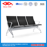 Metal airport benches public seating waiting room with 3-seat chair