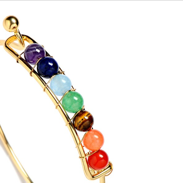 Fashion 7 Chakra Gemstone Beads Cuff Bangle