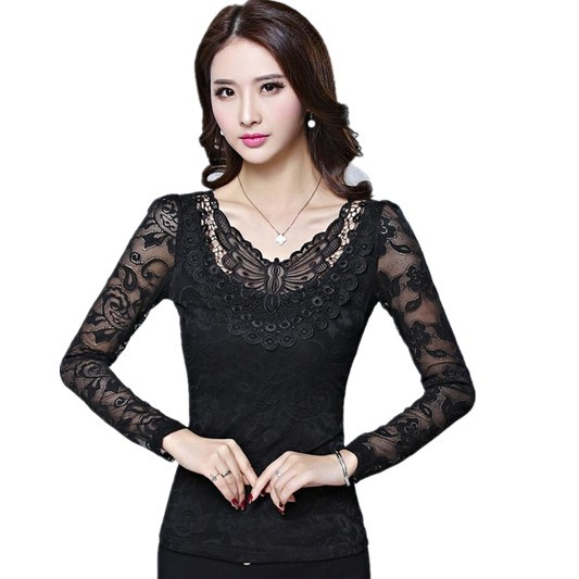 Free Shipping Hot-Selling Spring New Woman Tops , large size Women Slim V-Neck Lace Bottoming Shirt M L XL 2XL 3XL